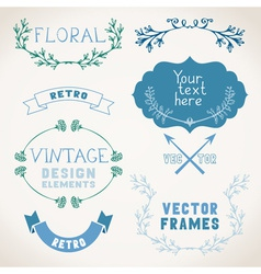 Set of vintage page decorations with floral vector image