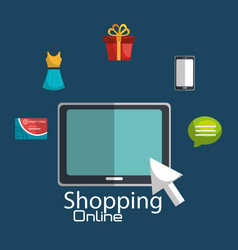 shopping online with tablet vector image