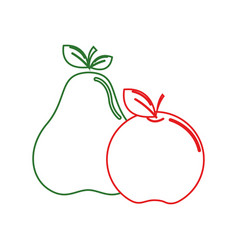 Silhouette delicious pear and apple fruit vector