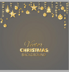 sparkling christmas glitter ornaments golden vector image