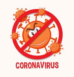 stop coronavirus prohitbit sign with coronavirus vector image