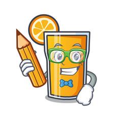 student orange juice character cartoon vector image