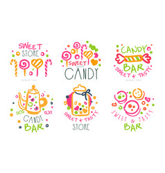 sweet store logo templates set candy shop bright vector image