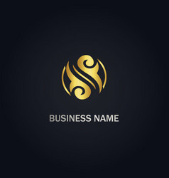 swirl decorative circle logo vector image