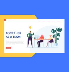 Teamwork creative idea concept for landing page vector