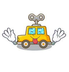 Tongue out clockwork toy car isolated on mascot vector