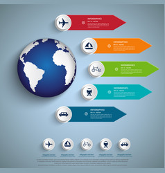 tourism infographic elements set with world map vector image