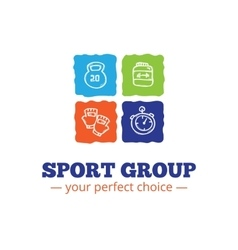 Trendy sport equipment shop logo in doodl vector