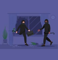 Two male burglars in masks and hoodie breaking in vector