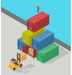 Unloading of sea cargo containers by a forklift vector image