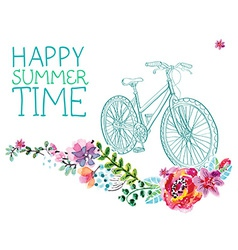Watercolor flowers and bicycle vector image