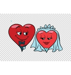 Wedding groom and bride Valentine heart vector image vector image