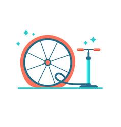 wheel repair pump the tyre flat bicycle tyre vector image