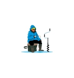 Winter fishing sign Ice fisherman on lake vector image