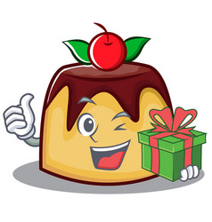 With gift pudding character cartoon style vector