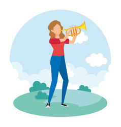 Woman playing trumpet musical vector