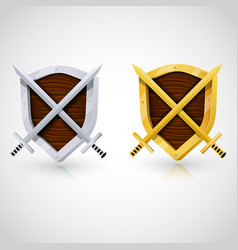 Wooden shield with swords vector