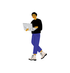 young man walking with laptop guy working or vector image