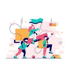 young men carry attractive girl on big pencil vector image