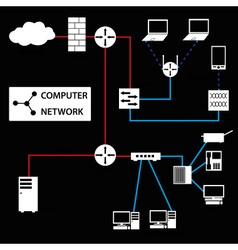 computer network connections white icons and vector image