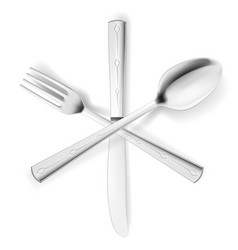 crossed fork spoon and knife on white vector image vector image