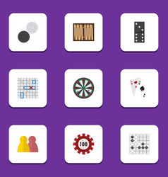 flat icon games set of gomoku dice arrow and vector image vector image