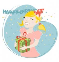 girl celebrating birthday vector image vector image