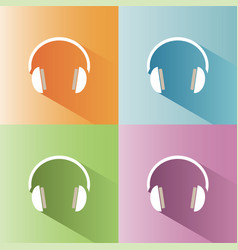 headphones icon on a colored background vector image vector image