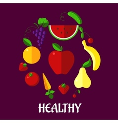 Healthy eating poster with fruits and vegetabkes vector image vector image