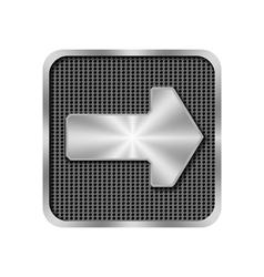Metal arrow on background with holes vector image