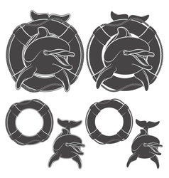 Set of dolphin design element vector image vector image