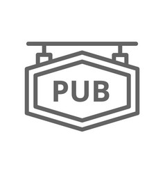 simple bar and pub signboard line icon symbol and vector image vector image