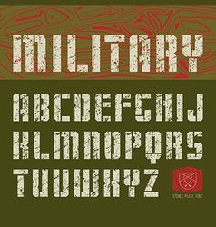 Stencil plate sans serif font military vector image