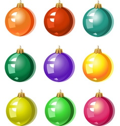 a set of Christmas tree ornaments colored balls vector image vector image