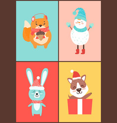 animals collection of cards on vector image vector image
