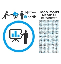 Bar Chart Presentation Icon with 1000 Medical vector image