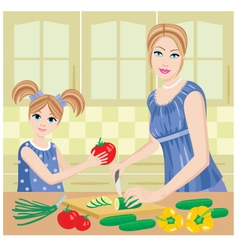 daughter helps mum vector image vector image