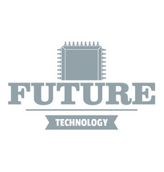 future cpu logo simple gray style vector image