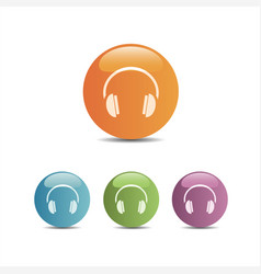 headphones icon on a colored buttons and white vector image