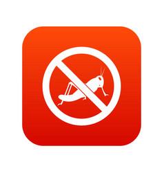 No locust sign icon digital red vector