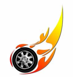 tyre on fire vector image vector image