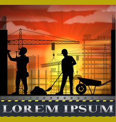 under construction worker silhouette at sunset vector image