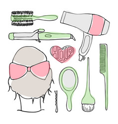 hairdressing tools doodle set vector image vector image