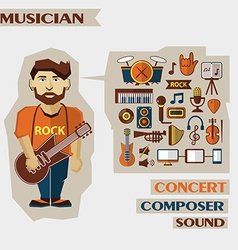 Profession of people Flat infographic Musician vector image