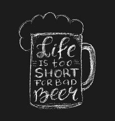 Chalk beer lettering vector image