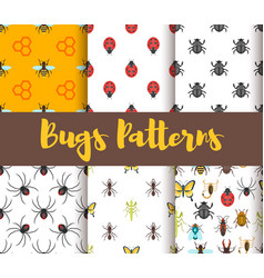 flat style set of patterns with bug vector image vector image