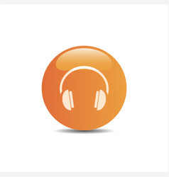 headphones icon on a orange button and white vector image vector image