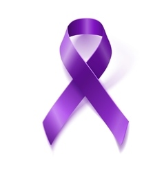 Purple awareness ribbon isolated on white vector image