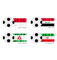 Soccer Ball of Indonesia Iraq Ingushetia vector image vector image