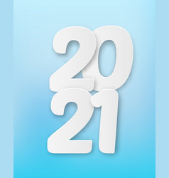 2021 happy new year with 3d realistic numbers vector